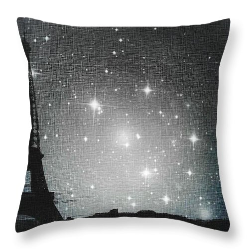 Paris Throw Pillow featuring the photograph Starry Night In Paris - Eiffel Tower Photography by Marianna Mills