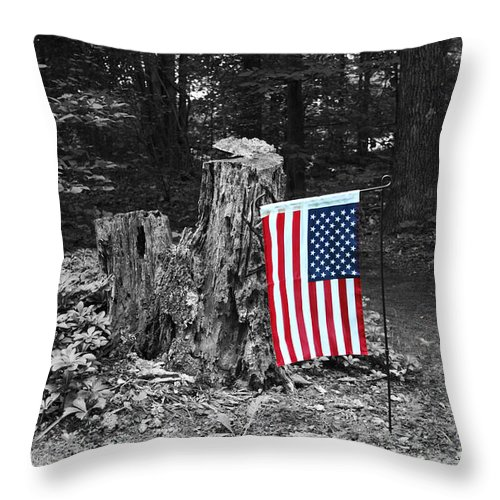 American Flag Throw Pillow featuring the photograph Stars And Stripes With Selective Color by James Brunker