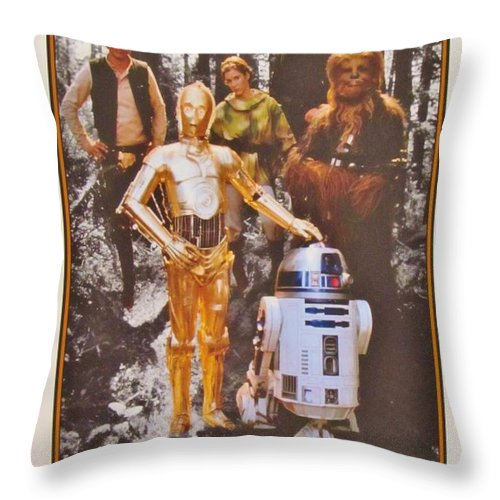Star Wars Art Throw Pillow featuring the photograph Stars Wars Autographed Movie Poster by Donna Wilson