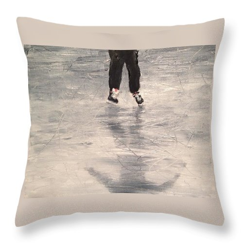 Shinny Hockey Painting Throw Pillow featuring the painting Starting Out by Desmond Raymond