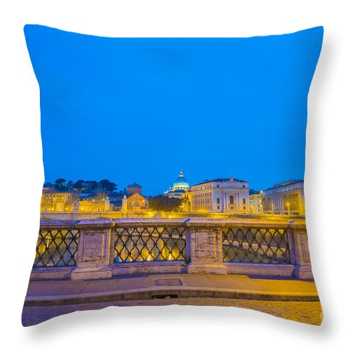 Church Throw Pillow featuring the photograph Statue And Street Lamp by Mats Silvan