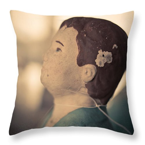 Stature Throw Pillow featuring the photograph Statue Of A Boy Praying by Edward Fielding