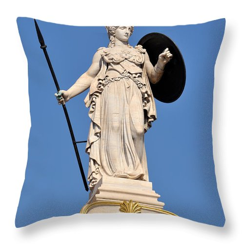 Athena; Athina; Minerva; Goddess; Statue; Athens; City; Capital; Academy; Panepistimiou; Street; Attica; Attika; Attiki; Greece; Hellas; Greek; Hellenic; Europe; European; Holidays; Vacation; Travel; Trip; Voyage; Journey; Tourism; Touristic; Blue; Sky; Statues Throw Pillow featuring the photograph Statue Of Athena by George Atsametakis