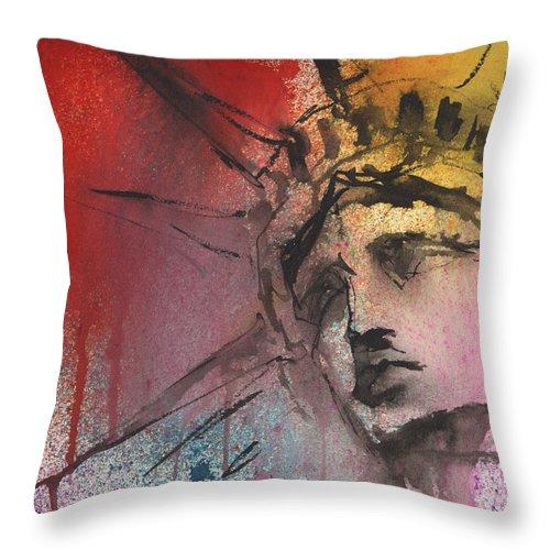 Statue Of Liberty Art Throw Pillow featuring the painting Statue of Liberty New York painting by Svetlana Novikova