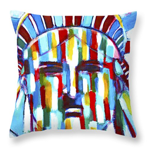 Abstract Throw Pillow featuring the painting Statue Of Liberty With Colors by Habib Ayat