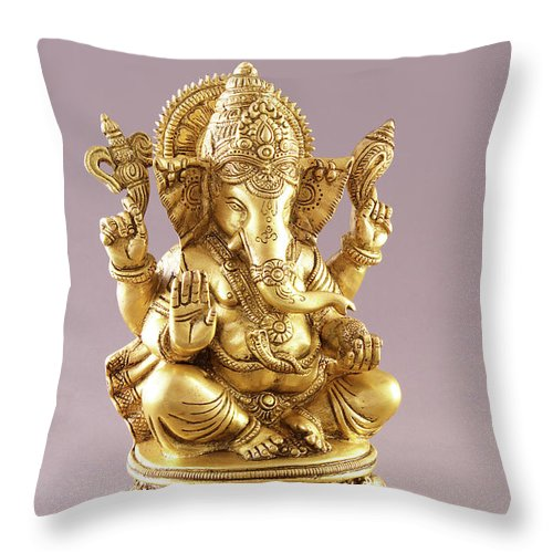 Spirituality Throw Pillow featuring the photograph Statue Of Lord Ganesh by Visage