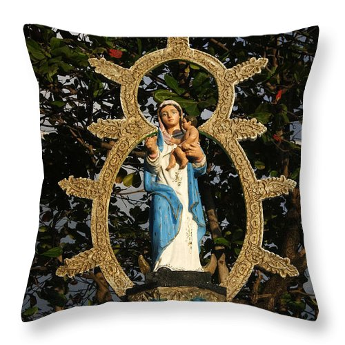 Central Throw Pillow featuring the photograph statue of the Virgin Mary in Granada Nicaragua by Rudi Prott