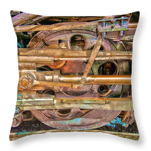Train Throw Pillow featuring the photograph Steam Engine Linkage by Richard J Cassato