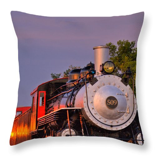 Steam Throw Pillow featuring the photograph Steam Engine Number 509 by Douglas Barnett