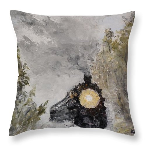 Steam Locomotive Throw Pillow featuring the painting Steam Locomotive by Maria Karalyos