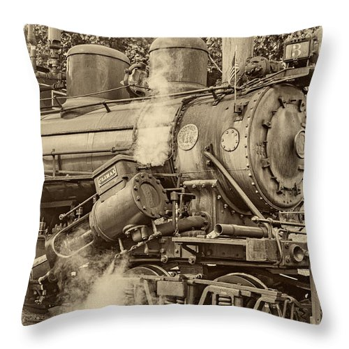 Pocahontas County Throw Pillow featuring the photograph Steam Power Sepia Vignette by Steve Harrington