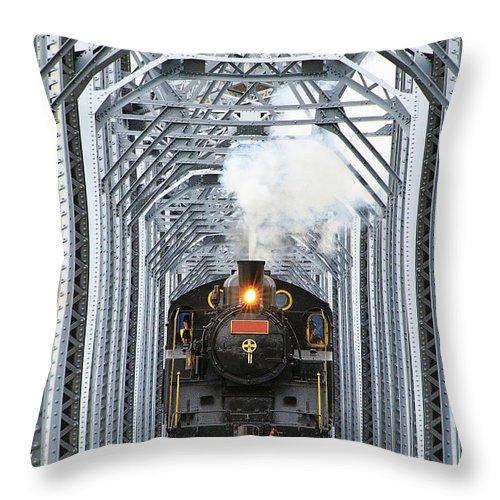 Air Pollution Throw Pillow featuring the photograph Steam Train by Peter Hong