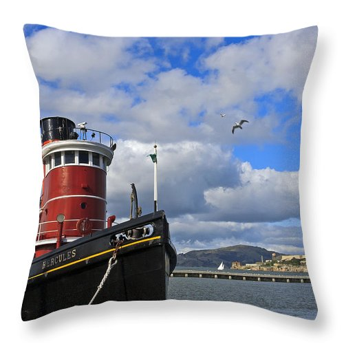 Kate Brown Throw Pillow featuring the photograph Steam Tug Hercules by Kate Brown