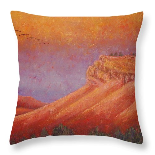 Steamboat Mountain Throw Pillow featuring the painting Steamboat Mountain at Sunrise by Margaret Bobb