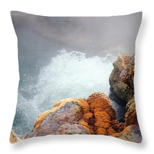 Hotspring Throw Pillow featuring the photograph Steaming Hot Spring by Gaspar Avila