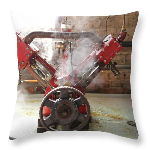 Steam Throw Pillow featuring the photograph Steaming Red V by Pat Williams