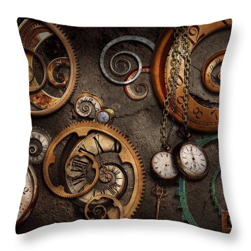 Steampunk Throw Pillow featuring the photograph Steampunk - Abstract - Time is complicated by Mike Savad