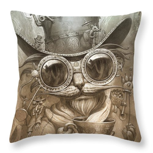 Steampunk Throw Pillow featuring the painting Steampunk Cat by Jeff Haynie