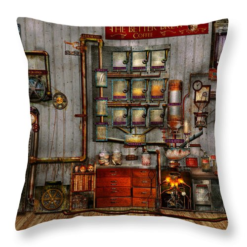 steampunk coffee the company coffee maker throw pillow for sale