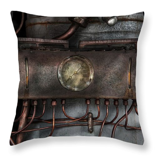 Hdr Throw Pillow featuring the photograph Steampunk - Connections  by Mike Savad