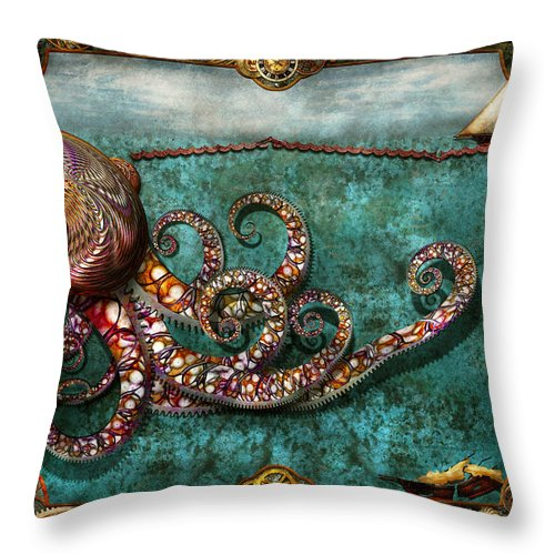 Self Throw Pillow featuring the digital art Steampunk - The Tale Of The Kraken by Mike Savad