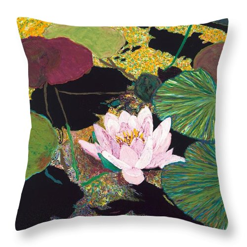 Landscape Throw Pillow featuring the painting Steamy Pond by Allan P Friedlander