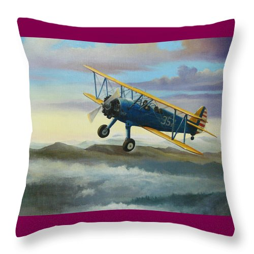 Stearman Throw Pillow featuring the painting Stearman Biplane by Stuart Swartz