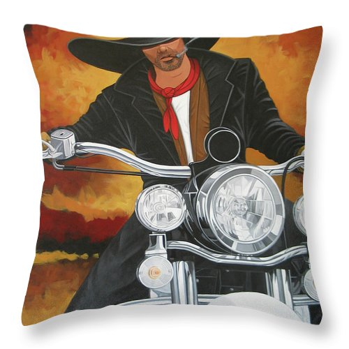 Cowboy On Motorcycle Throw Pillow featuring the painting Steel Pony by Lance Headlee