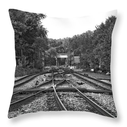 Railroad Throw Pillow featuring the photograph Steel Rail Intersections.  Point Of Rocks Md by Thomas Marchessault
