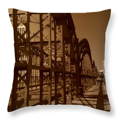 Steel Bridge Throw Pillow featuring the photograph Steel Shadows by Miguel Winterpacht
