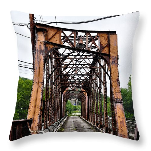 Steel Throw Pillow featuring the photograph Steel Span Railroad Bridge Manayunk Philadelphia Pa by Bill Cannon
