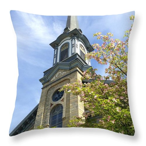 Stone Throw Pillow featuring the photograph Steeple Church Arch Windows by Becky Lupe