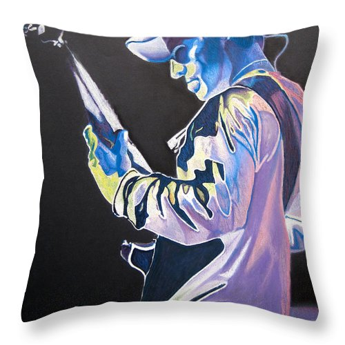 Stefan Lessard Throw Pillow featuring the drawing Stefan Lessard Colorful Full Band Series by Joshua Morton