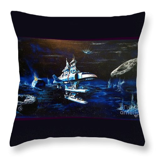 Alien Throw Pillow featuring the painting Stellar Cruiser by Murphy Elliott