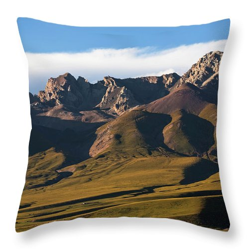 Scenics Throw Pillow featuring the photograph Steppe Valley With Surrounding Peaks by Merten Snijders
