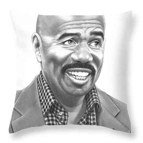 Pencil Throw Pillow featuring the drawing Steve Harvey by Murphy Elliott