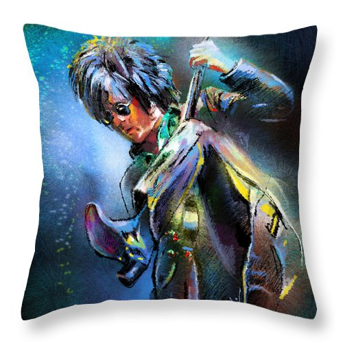 Music Throw Pillow featuring the painting Steve Stevens by Miki De Goodaboom