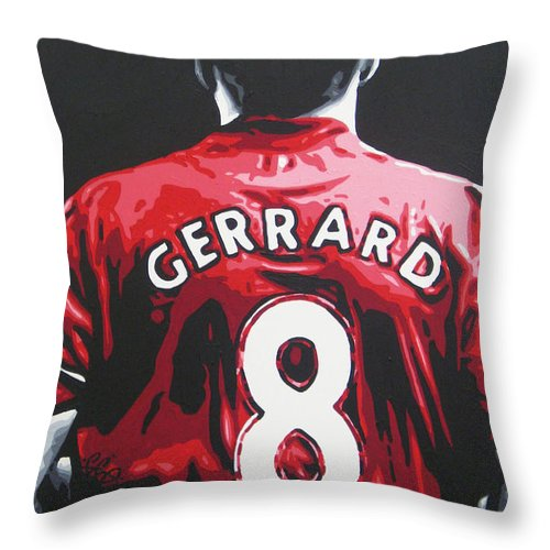 Steven Gerrard Throw Pillow featuring the painting Steven Gerrard - Liverpool Fc 3 by Geo Thomson