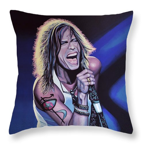 Steven Tyler Throw Pillow featuring the painting Steven Tyler 3 by Paul Meijering
