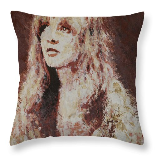 Stevie Nicks Throw Pillow featuring the painting Stevie Nicks by Alys Caviness-Gober