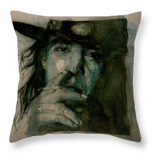 Stevie Ray Vaughan Throw Pillow featuring the painting Stevie Ray Vaughan by Paul Lovering