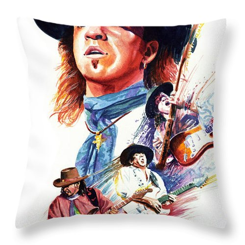 Guitarists Throw Pillow featuring the painting Stevie Ray Vaughn by Ken Meyer