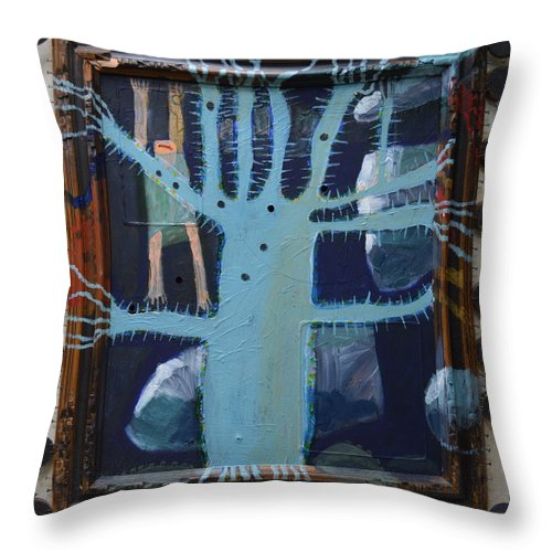 Abstract Modern Outsider Raw Folk Blue Tree Arms Legs Thorns Figure Limb Limbs Reaching Holes Clouds Kids Bare Feet Barefooted Ouch Mouth Problems Fun Humorous Composition Cool Throw Pillow featuring the painting Sticker Tree - Framed by Nancy Mauerman