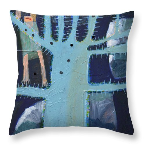 Abstract Modern Outsider Raw Folk Blue Tree Arms Legs Thorns Figure Limb Limbs Reaching Holes Clouds Kids Bare Feet Barefooted Ouch Mouth Problems Fun Humorous Composition Cool Throw Pillow featuring the painting Sticker Tree by Nancy Mauerman
