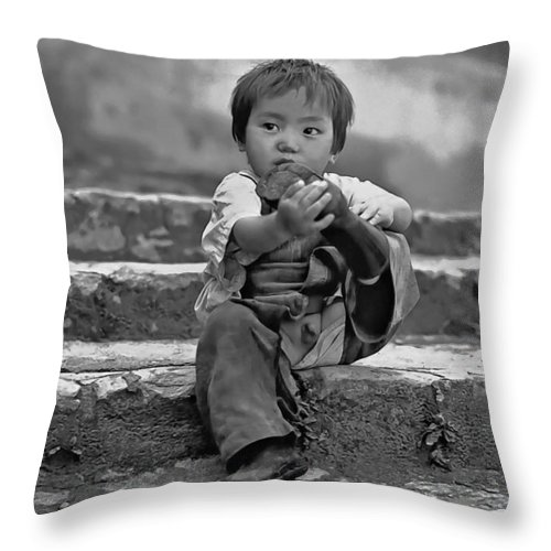 Portrait Throw Pillow featuring the photograph Sticky Boot Monochrome by Steve Harrington