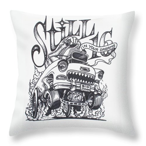 Rat Fink Art Throw Pillow featuring the drawing Still 16 In Your Mind by Alan Johnson