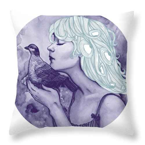 Bird Throw Pillow featuring the drawing Still Here Pantone by Freja Friborg