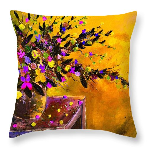 Still Life Throw Pillow featuring the painting Still Life 4157 by Pol Ledent