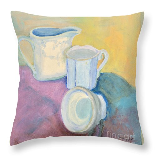 China Throw Pillow featuring the painting Still Life by Carol Oufnac Mahan