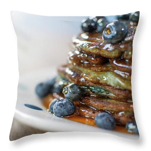 Unhealthy Eating Throw Pillow featuring the photograph Still Life Of Blueberry Pancakes With by Matt Walford